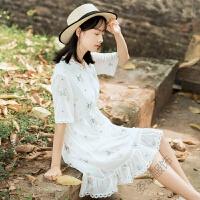 雪纺连衣裙夏装2018蕾丝花边拼接小花朵刺绣系带少女心仙女裙 白色