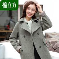 毛呢大衣女中长款2018冬季新款棉立方茧型双排扣秋冬款呢子外套