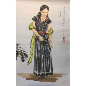 朝鲜水墨画 一级画家 李成民《舞者》【大千艺术品】
