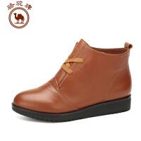 骆驼牌女鞋 秋冬新品 头层牛皮舒适女靴女士短筒系带休闲鞋