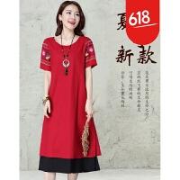 2018夏新品原创设计民族风绣花短袖A字裙中长款假两件文艺连衣裙GH10501 红色