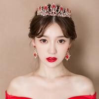新娘头饰红色皇冠耳环发饰大气韩式敬酒服结婚