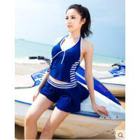 新款遮肚显瘦泳装 海军蓝裙式保守女分体裙式泳衣 复古小胸钢托聚拢温泉游泳装