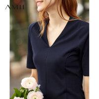 【到手价:71元】Amii极简欧货chic港风T恤女2019夏季新款纯色V领修身百搭短袖上衣