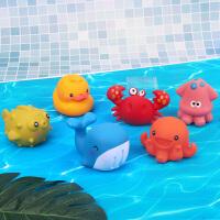 蓓臣 萌趣海洋动物软胶捏捏乐可喷水 0-3-6岁宝宝戏水浴室洗澡玩具