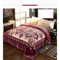 毛毯被子盖毯豹纹冬季加厚双层双人保暖毯 天丝绒大红8斤紫色 LT70X2-6风范 200cmx230cm