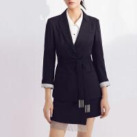 LILY2021夏新款女装JK风进口面料绑蝴蝶结立体流苏修身西装外套510