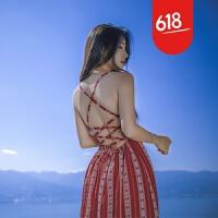 原创夏季性感露背沙滩裙波西米亚雪纺长裙开叉条纹海边度假显瘦连衣裙GH04