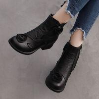 【头层牛皮】沉素阁复古单靴民族风女短靴中老年粗跟妈妈鞋靴
