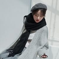 围巾韩版女学生冬季百搭原宿针织简约秋冬天长款披肩围巾两用加厚