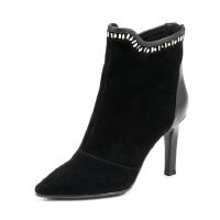 Fondberyl/菲伯丽尔 冬款羊皮尖头水钻高细跟女短靴FB54111217