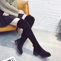 2018女靴秋冬欧美新款过膝长靴弹力靴平跟长筒靴绒面高筒单靴 黑色 35