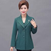 妈妈秋装外套短款40岁50中老年女装春秋小西装中年妇女洋气上衣薄 XL (建议90-108斤)
