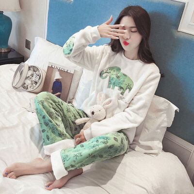 秋珊瑚绒睡衣女冬季韩版清新学生甜美可爱大象加厚家居服卡通套装 发货周期:一般在付款后2-90天左右发货,具体发货时间请以与客服协商的时间为准