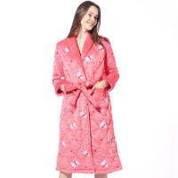 睡衣女冬三层夹棉可爱纯棉浴衣浴袍中长款冬天保暖睡裙