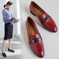 乐福鞋女金属扣休闲懒人鞋平底红色小皮鞋一脚蹬真皮英伦尖头商务工作单鞋
