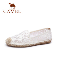 Camel/骆驼女鞋 春夏新款 蕾丝透气平底鞋 小香风乐福鞋