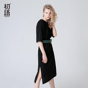 初语2017秋  休闲简约五分袖开叉修身中长款连衣裙女黑色女气质裙