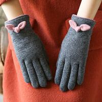 秋冬双层加绒羊毛手套女士蝴蝶结保暖分指手套女冬季