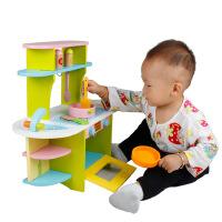 新款木制儿童仿真厨房煤气灶套装宝宝做饭过家家早教益智玩具