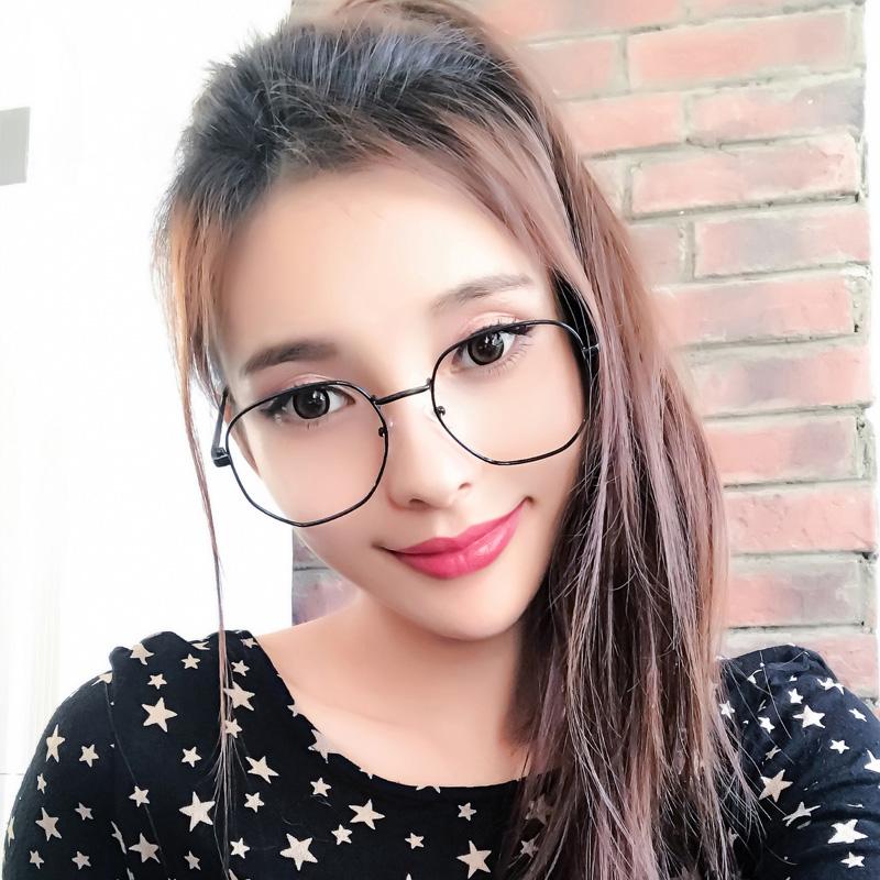 眼镜框女眼睛架男圆脸平光眼镜大框近视镜可配度数潮镜架