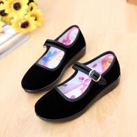 老北京布鞋黑色女孩小礼仪鞋儿童舞蹈鞋平跟黑色方口体操鞋绣花鞋