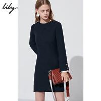 Lily春女装优雅通勤深蓝收腰系带长袖连衣裙118440B7712