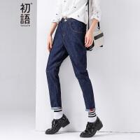 初语 春季新品 心形撞色缝线宽松牛仔长裤女8631815024