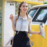海贝夏季新款女装 甜美碎花娃娃领系带荷叶边短袖雪纺衬衫