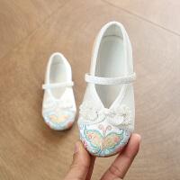 老北京布鞋女童绣花鞋民族风儿童小白鞋宝宝传统手工鞋古装公主鞋