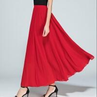 半身长裙夏女雪纺高腰显瘦仙女裙子红色半身裙百褶a字舞裙中长款 红色 雪纺长裙