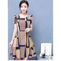女韩版时尚显瘦短袖印花格子雪纺连衣裙中长裙子 支持礼品卡支付