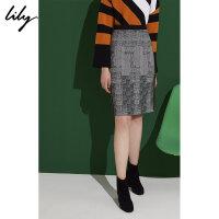【25折到手价:109元】 Lily春新款女装渐变格纹修身侧条纹包臀裙半身裙118400C6107
