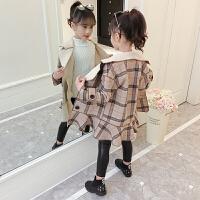 女童呢子大衣小女孩中长款毛呢儿童秋冬洋气格子外套