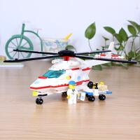 万格拼装积木玩具医疗直升飞机小颗粒儿童拼装玩具29161