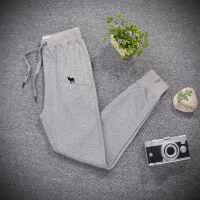 加绒加厚运动裤女秋冬季白色潮小脚加绒宽松卫裤 灰色 L 加厚保暖