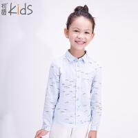 初语童装 新款 女童 翻领长袖印花小清新休闲衬衫T5302120052