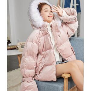 【2件3折价440.64元】唐狮冬季新款女棉衣短款连帽毛领甜美外套学生小心机上衣潮流