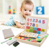 木丸子 木制数字七巧板拼图拼版 儿童益智双面磁性画板拼拼乐玩具