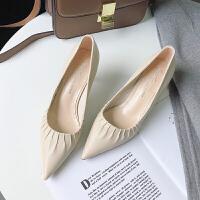 糖果色高跟鞋2019秋季新款尖头软面细跟猫跟鞋浅口时尚褶皱单鞋女百搭
