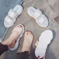 2019拖鞋女夏季防滑透气厚底一字拖鞋女士韩版时尚凉拖鞋室外穿坡跟沙滩鞋
