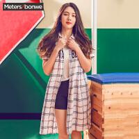 美特斯邦威女衬衫夏新款女韩版中长款短袖衬衣225593明星同款
