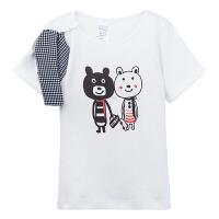 【加拿大童装】GagouTagou女童宝宝短袖T恤1-2蝴蝶结纯色打底衫3-5岁小童夏装儿童