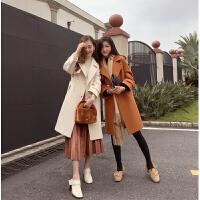 谜秀毛呢大衣女2017冬装新款韩版中长款小个子呢子外套ulzzang潮