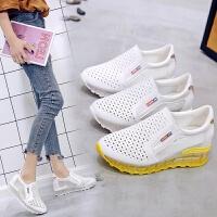 2019春夏韩版新款内增高镂空休闲女鞋坡跟百搭透气单鞋显瘦小白鞋