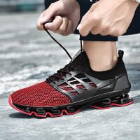 香港潮牌 夏季时尚战士跑鞋男特大码夏季透气男士运动鞋加大号休闲网面跑步