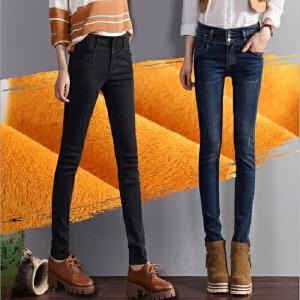 新款加绒牛仔裤女高腰加厚长裤冬季保暖大码弹力铅笔小脚裤潮