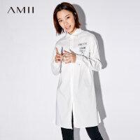 【1件8折/2件6折】Amii[极简主义]休闲印花衬衫女2017秋装新款polo领落肩袖开衩上衣
