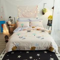 床上用品纯棉卡通印花床单四件套儿童全棉床笠床品套件 1.5床笠四件套 被套200x230床笠150*