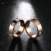 时尚镀玫瑰金戒指女欧美创意食指情侣戒指刻字日韩版指环潮人饰品
